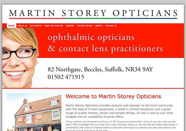 Martin Storey Opticians website