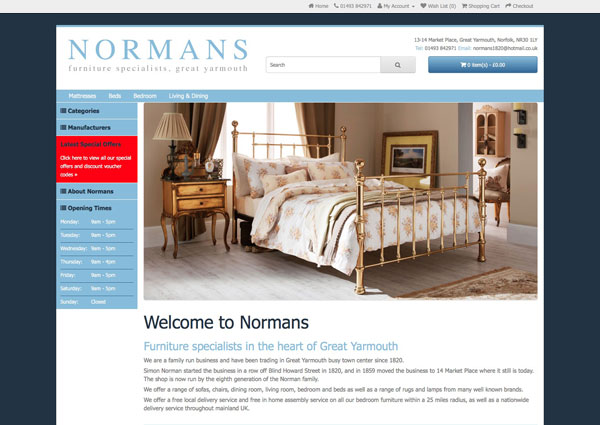 Normans Furniture website